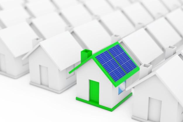 Зеленый дом с синими панелями солнечных батарей среди белых домов на белом фоне. 3d-рендеринг.