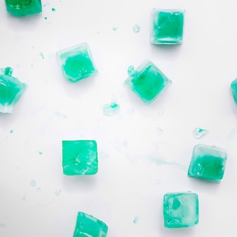 Green ice cubes