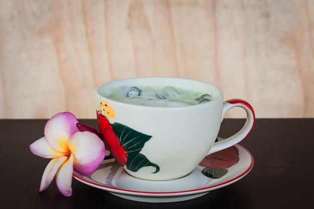 Green ice tea on the table