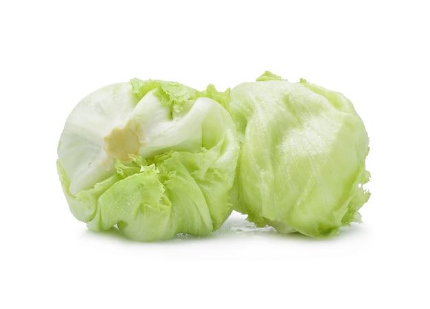 Green iceberg lettuce on white.