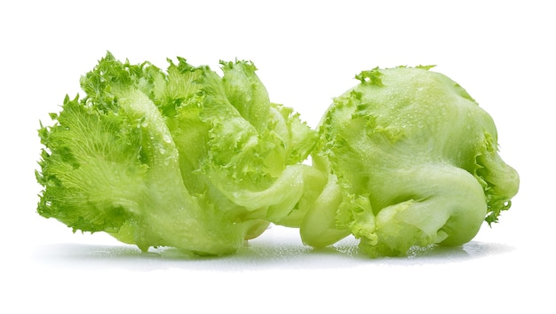 Green iceberg lettuce with drops of water on white background.