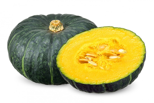 Green japanese pumpkin isolated clipping path