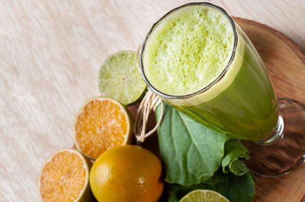 Green juice or fresh juice detox. copy space