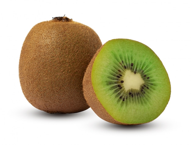 Green kiwi with half, isolated on white background