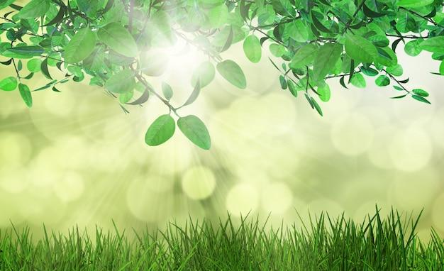 3d визуализации листьев и травы против расфокусированный фоне