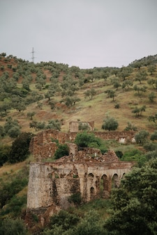Paesaggio verde con alte montagne e rovine di edifici distrutti