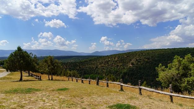 나무 울타리, 잔디 초원과 나무 숲, 구름과 푸른 하늘 녹색 풍경. 스페인.