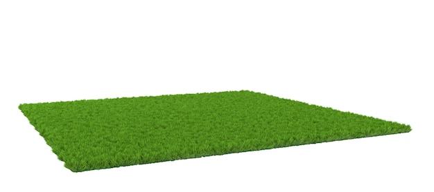 Зеленая лужайка на белом