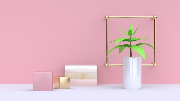 Green leaf of tree in white pot and abstract pink gold cube pink wall minimal background 3d rendering