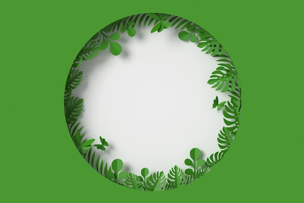 Green leaves are circle framed shape, butterfly paper fly