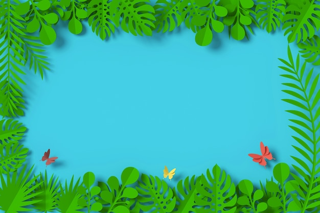 Green leaves are framed on blue background, butterfly paper fly