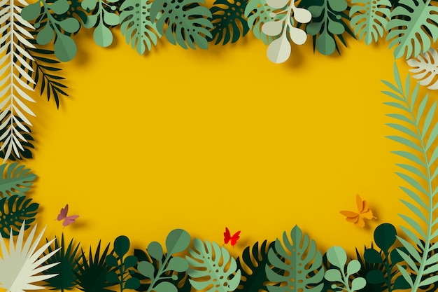 Green leaves are framed on yellow background, butterfly paper fly