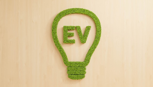 나무 벽에 전구로 ev 텍스트를 형성하는 녹색 잎, 깨끗한 전기 자동차 사업 아이디어 개념 배경을 위한 창의적인 재생 에너지, 3d 그림 친환경 잎 성장