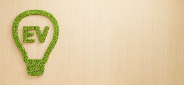 나무 벽에 전구로 ev 텍스트를 형성하는 녹색 잎, 복사 공간이 있는 깨끗한 전기 자동차 비즈니스 아이디어 개념 배경, 3d 그림 친환경 잎 성장을 위한 창의적인 재생 에너지