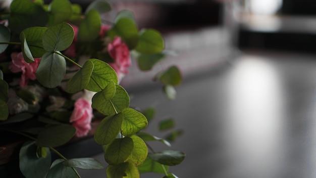 屋内のぼやけた背景に花束の緑の葉。灰色の背景とピンクの花