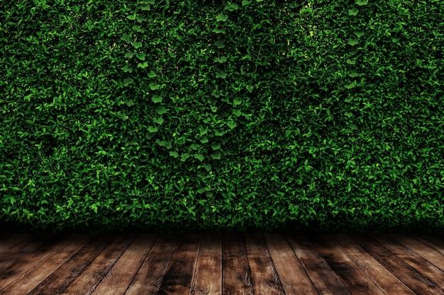 緑は木の床と自然の壁を残します。