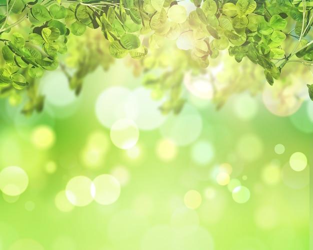 日当たりの良いボケライトの背景に緑の葉のレンダリング3d