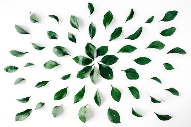 白地に緑の葉のパターン