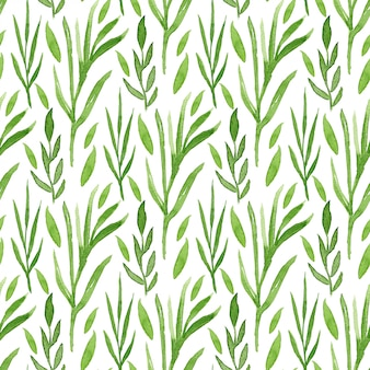 Green leaves watercolor seamless pattern. can be used for wrapping and package design.