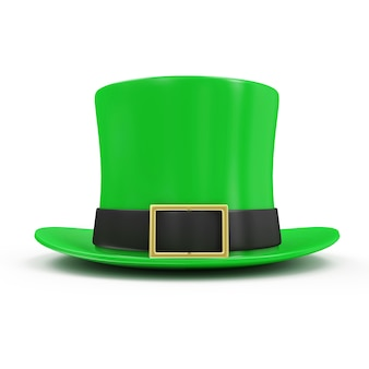 Green leprechaun hat for traditional irish holiday st patricks day isolated on white