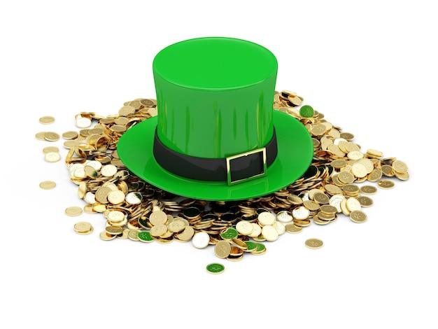 白で隔離の伝統的なアイルランドの休日聖パトリックの日のための黄金のコインと緑のレプラコーン帽子
