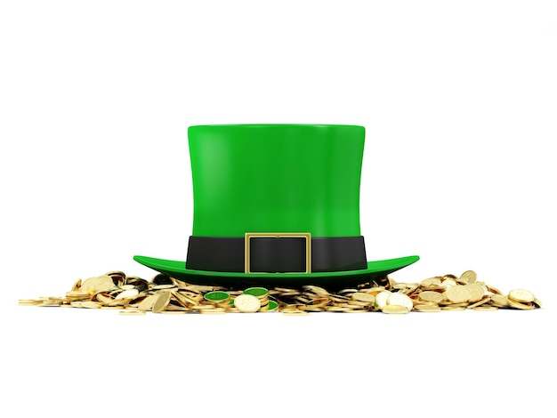 Green leprechaun hat with golden coins for traditional irish holiday st patricks day isolated on white