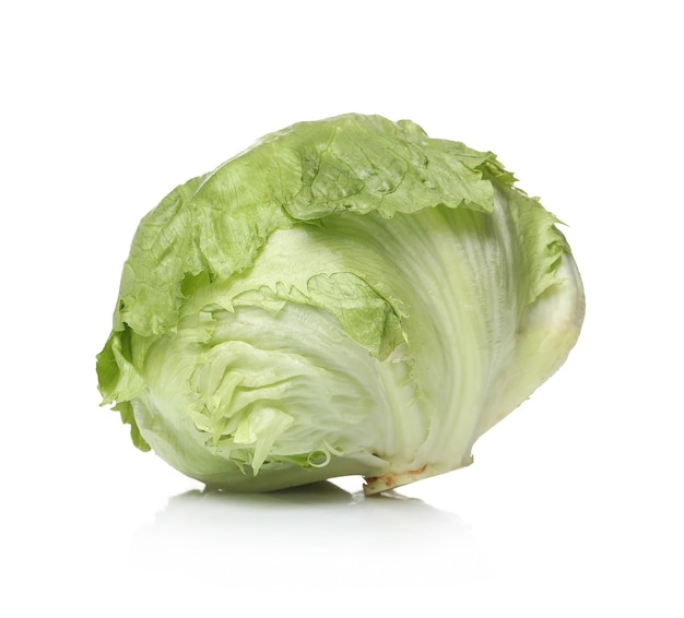 Green lettuce on a white surface
