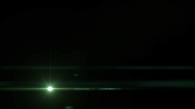 黒の背景に緑色の光線ミニマルな宇宙シーンスターフレア