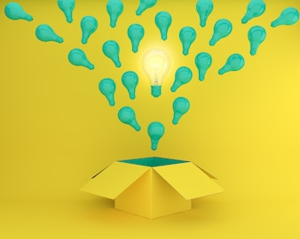 Green light bulbs glowing the different creative idea think outside the box on yellow back