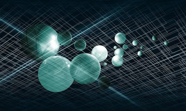 緑色の光の線抽象的な幾何学的な背景