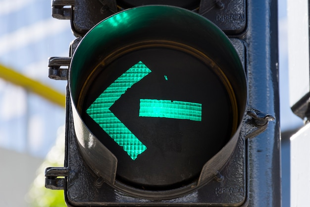 Green light on traffic lights outdoors