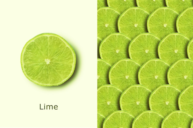 Green lime, creative layout with fresh fruits