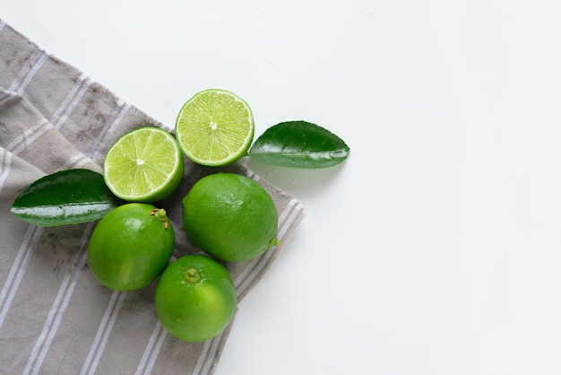 Green lime on white background