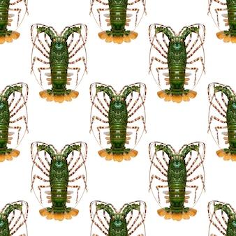 白い背景で隔離の緑のロブスター。シームレスなパターン。高品質の写真