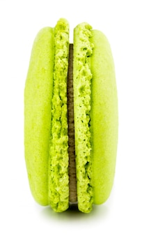 Green macaron or macaroon. colorful almond cookies, dessert