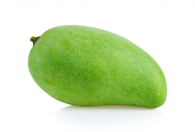 Green mango on white wall
