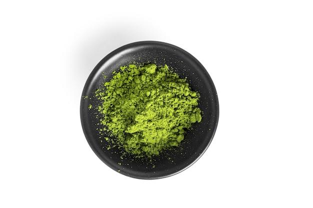 Green matcha powdered tea isolated.