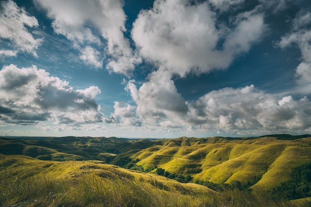 Green meadows on cloudy sky background. sumba.