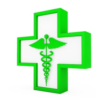 Зеленый медицинский символ кадуцей в кресте на белом фоне. 3d рендеринг