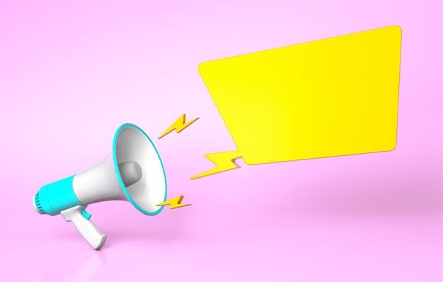 Зеленый мегафон и желтый пузырь на розовом фоне. шаблон пустой. 3d визуализация.