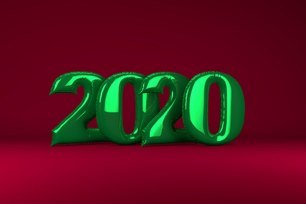 Green metallic inflatable figures 2020 on red . balloons. new year. 3d render, .
