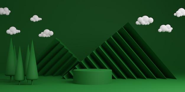 녹색 최소한의 추상적 인 배경 실린더 연단 기하학적 모양, 제품에 대한 단계. 3d 렌더링