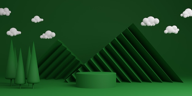 Green minimal abstract background cylinder podium geometric shape, stage for product. 3d rendering