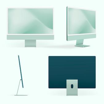 Green minimal computer desktop digital device with design space set