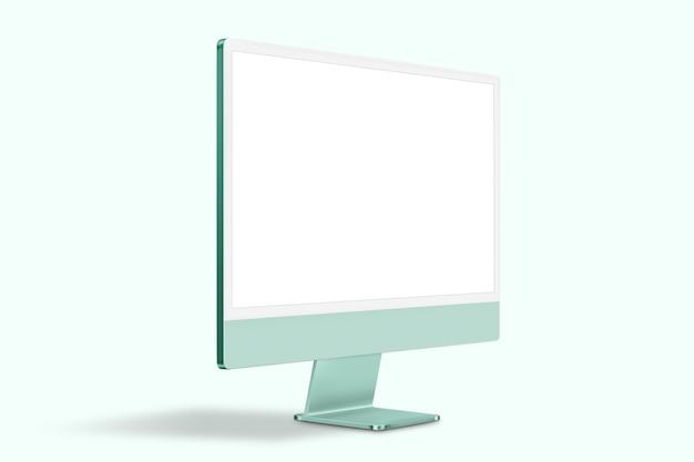 디자인 공간이 있는 녹색 최소 컴퓨터 데스크탑 화면 디지털 장치