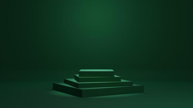 녹색 최소한의 연단 3d 렌더링 배경