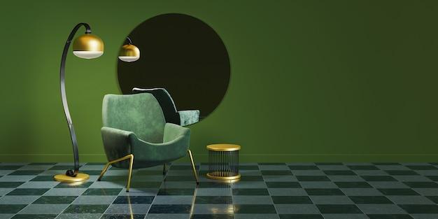 Зеленый минималистичный интерьер с золотыми деталями, круглым зеркалом, лампой и диваном.