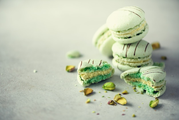 Green mint french macaroons with pistachios.