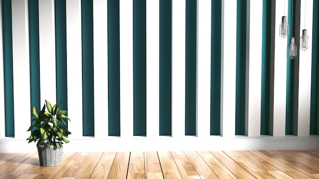 Green mint wall on wood floor interior. 3d rendering