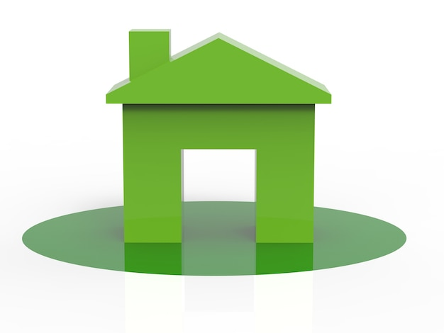 Green mock up house on white background